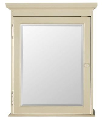 NEW Mirrored Surface Mount Wood Bathroom Medicine Cabinet in Antique White Color