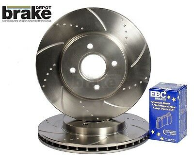 Toyota Starlet 1.3 GT Turbo Front Brake Discs Dimpled Grooved EBC Ultimax Pads