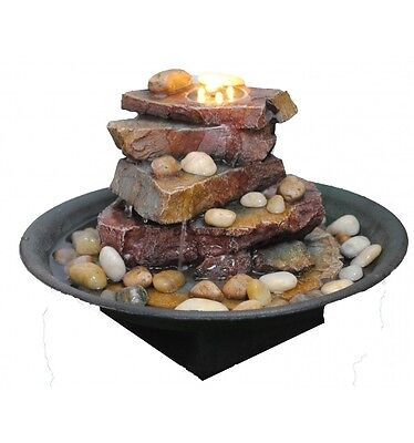 Stacked Slate Water Fountain With LED Lights