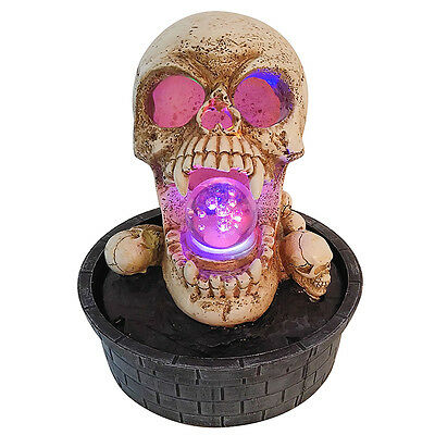 Skull Spinning Ball Fountain With LED Lights | Table Top Fountain