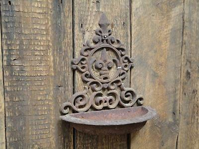 Vintage Cast Iron Planter Wall Mounted Pot Holder Shelf Collectable