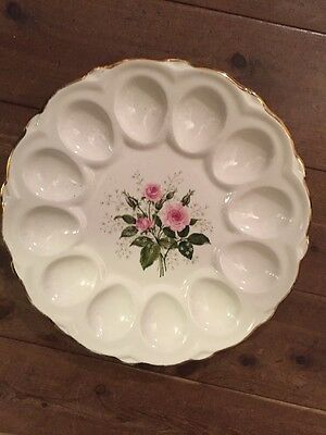 Vintage Deviled Egg Plate - Rose Design Gold Trim - 12 Eggs