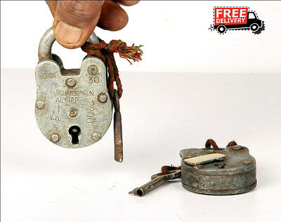 1992's Old Vintage Handcrafted Iron Brass Fitted Padlock, Nice Patina 8361 A