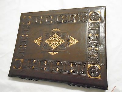 VTG 1950s Faux Leather Embossed Gold Decorative Photo Album Black Blank Sheets