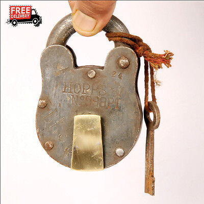 1992's Old Vintage Handcrafted Iron Brass Fitted Padlock, Nice Patina 8296 A