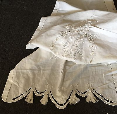"""Antique 67"""" x 22.5"""" Linen Table Runner: Cut Outs-Embroidered Flowers-Tassels"""