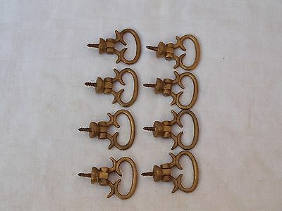 8 Reclaimed Solid Brass Art Nouveau Style Drawer Pull Handles - As Is