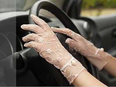 Ladies Fingers Driving Floral Lace Gloves Pearl Sun Block Uv Protection Summer