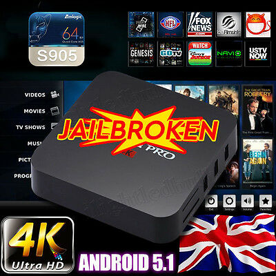 4K Quad Core 8GB Android 5.1 TV Box Smart Fully Loaded Stream Free Sports PLAYER