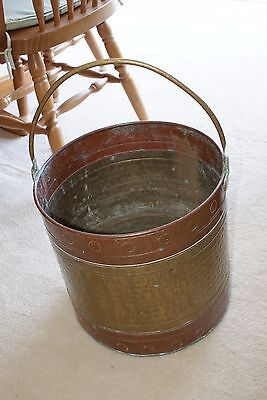 Large Vintage Copper and brass pot/bucket/planter with handle