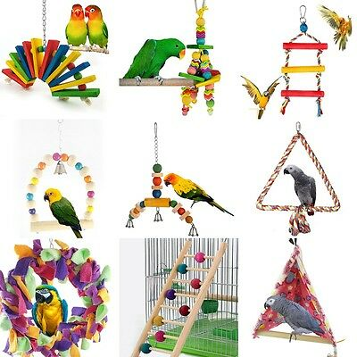 Colorful Swing Bird Parrot Rope Harness Hammock  Parakeet Cockatiel Hanging Toys