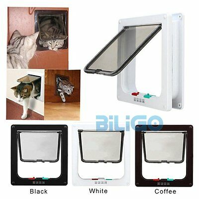 4 Way Locking Lockable Pet Cat Small Dog Safe Flap Door 3 Sizes & 3 Colors