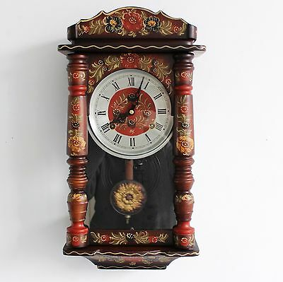 BLACK FOREST Wall TOP Clock Antique HAND PAINTED Decorations! GONG Chime Germany
