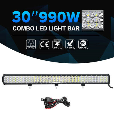 """30""""inch 495W CREE LED Light Bar Tri-row Combo Offroad Jeep Driving UTE Truck 32"""""""