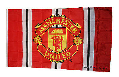 Manchester United Bar Stripe Large Flag with Club Crest 5ft x 3ft