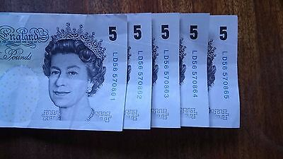 Old £5 Notes All In Consecutive Numbers. Un-Circulated *keepers*