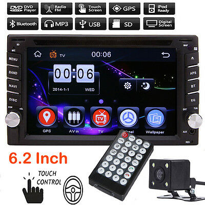 Bluetooth 2Din Car Radio Player Touch Screen DVD/USB/SD With Rearview Camera