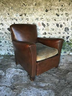 Beautiful Antique French Conker Leather Club Arm Chair - Vintage C1950