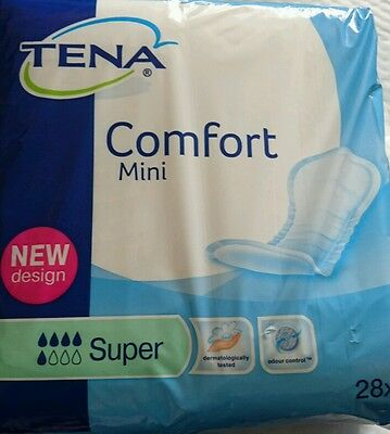 TENA Comfort Mini Super Incontinence Pads - Pack of 28 New - Free 1st Class Post