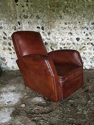 Beautiful Antique French Chestnut Leather Club Arm Chair - Vintage C1950