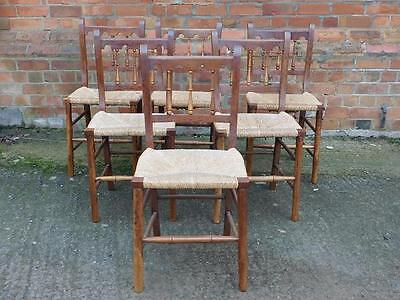 A Lovely Set Of 6 Country Antique Rush Seated Kitchen Chairs