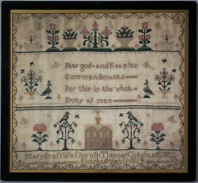 Antique Sampler, 1814, by Mary Frost