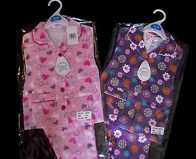 Baby Girls Flannel Pyjamas Pink Hearts or Purple Flowers 100% Cotton