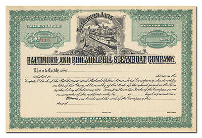 Baltimore and Philadelphia Steamboat Company Stock Certificate (Ericsson Line)