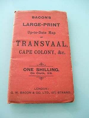 Vintage / Antique Bacon's South Africa Transvaal / Cape Colony Cloth Map