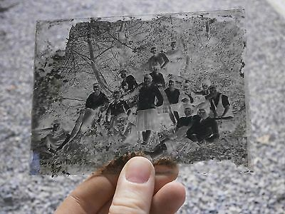 Antique Vintage Rare Photo Glass Plaque Negative 1927 Year People In The Wood