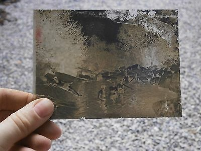 Antique Vintage Rare Photo Glass Plaque Negative Mens On Beach