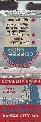 Hotel Muehlebach and Coffee Shop, Kansas City, MO.Vintage Matchbook Cover