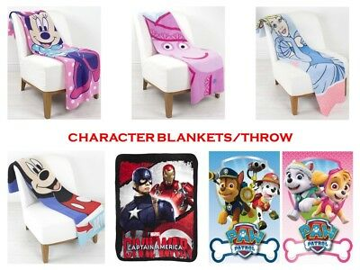 Childrens Boys Girls Character Throws - Paw Patrol - Tv Peppa - Fleece Blankets