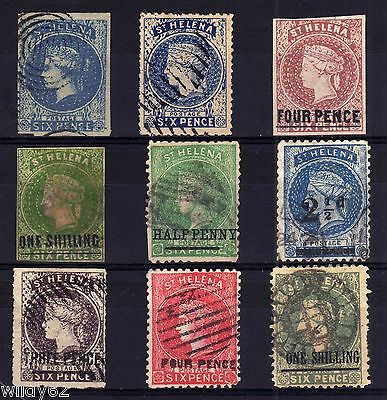 St. Helena Crude Qv Forgaries 'used' Selection, 9 Stamps.