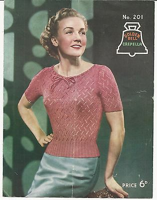 ORIGINAL VINTAGE 1940s / 1950s KNITTING PATTERN womens LACY JUMPER / TOP