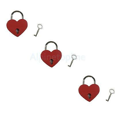 Lot of 3 Small Heart Shape Padlock Mini Luggage Bag Craft Diary Key Lock Red