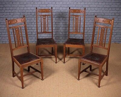 Set of Four Antique Arts & Crafts Dining Chairs by Waring & Gillow c.1910.