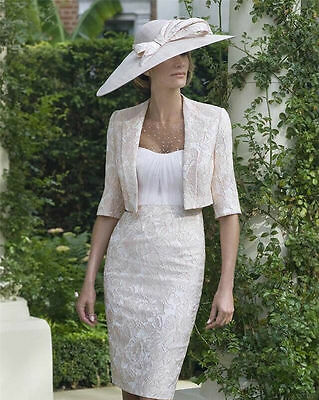 Tea Length Satin Lace Mother of the Bride suit outfit Mum Dress Free Jacket