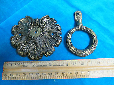 Lot of (2) Vintage antique 1-solid cast brass Back plate, 1967 American tack hid