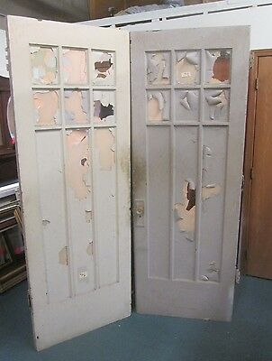 Solid Oak Antique French Doors W/ Beveled Glass Estate #54 Shipping Special Now