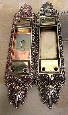 Fancy Set Antique Victorian Polished Brass/bronze French Pocket Door Plates # 3