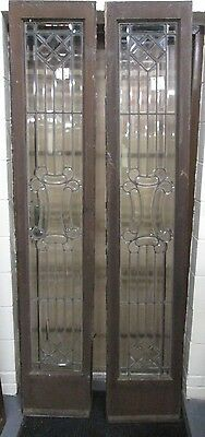 Beautiful  Pair All Beveled Antique Glass Door Side- Lites An Ohio Estate # 534