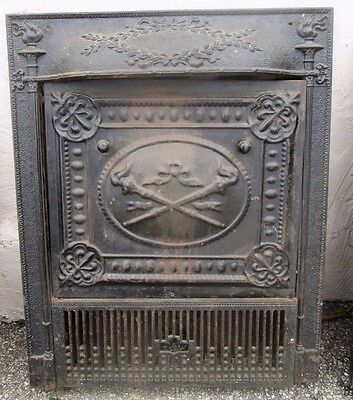 Fine Antique Victorian Iron Surround Classical Design W/summer Cover Estate #126