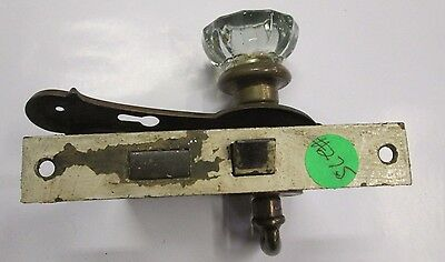 Antique Glass Door Knob Combination W/ Backplate, Escutcheon ,lock  Closet # 275