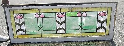 "Antique Stained Glass 54"" Transom Window Arts & Crafts Fine Tulip Design  # 630"