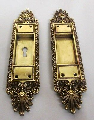 Fancy Set Antique Victorian Polished Brass/bronze French Pocket Door Plates # 5