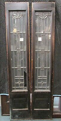 Pair Antique Beveled Glass Door Side-Lites Diamond Shaped Highlights Estate #147