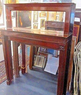 Beautiful Antique Mahogany Mantel W/ Beveled Mirror Hyde Park Estate # 83