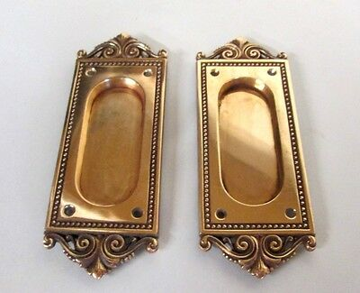 Fancy Set Antique Victorian Polished Brass/bronze French Pocket Door Plates # 6