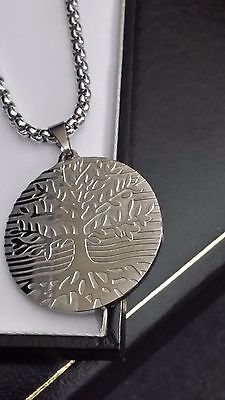 Ladies Personalised Engraved Tree Of Life Silver Steel Pendant Necklace Gift